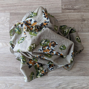 LADIES ORGANIC COTTON SCARF (GREEN FLORAL)