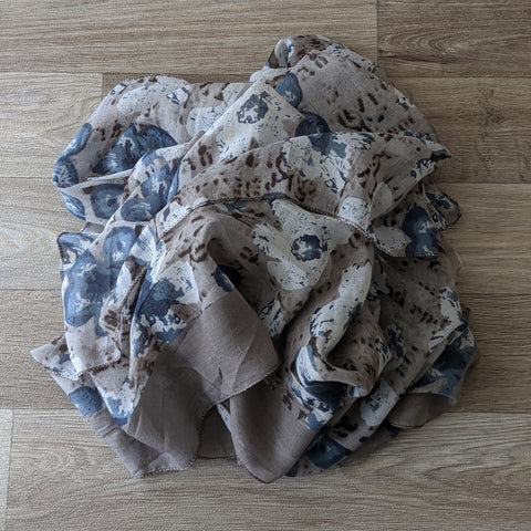 LADIES COTTON SCARF (TAUPE/BLUE FLORAL)