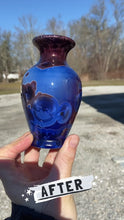 Load and play video in Gallery viewer, Ruby & Royal Blue Crystalline Glazed Mini Vase