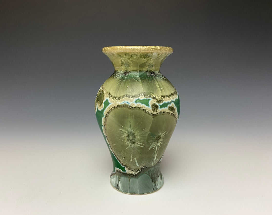 Green Galaxy Crystalline Glazed Mini Vase