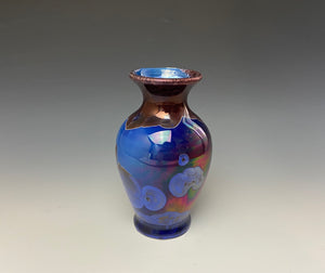 Ruby & Royal Blue Crystalline Glazed Mini Vase