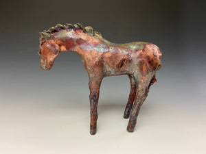Copper Rainbow Raku Horse 805