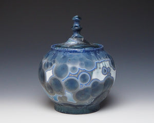 Deep Ocean Blue Crystalline Glazed Jar