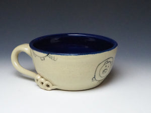 PIGGERY- Soup mug in Dark Blue