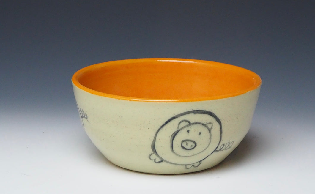 PIGGERY- Cereal bowl in orange #1