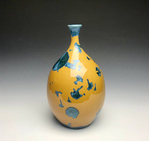 Blue and Yellow Crystalline Teardrop Vase