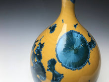 Load image into Gallery viewer, Blue and Yellow Crystalline Teardrop Vase