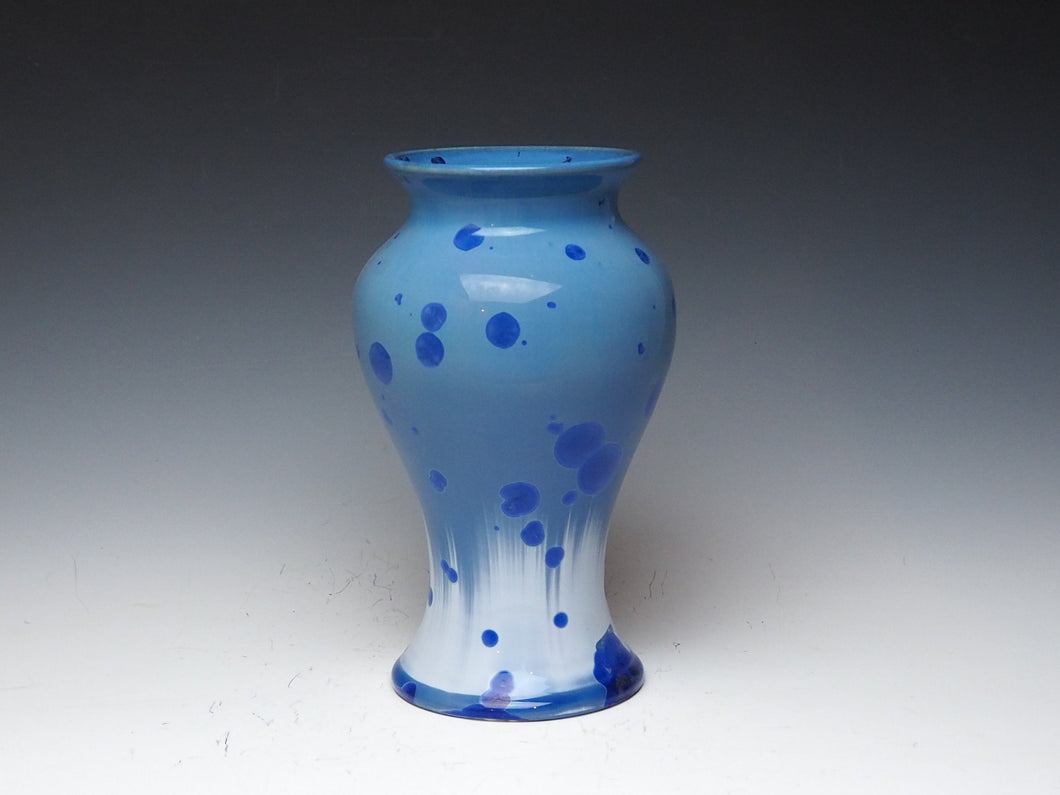 Crystalline Glazed Vase in Blue and While