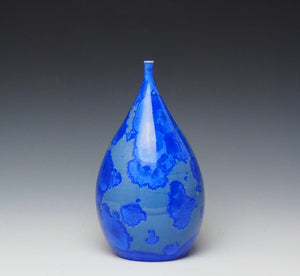 Royal Blue Crystalline Glazed Teardrop Vase
