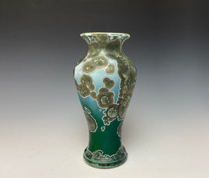 Emerald Green and Silver Crystalline Glazed Vase