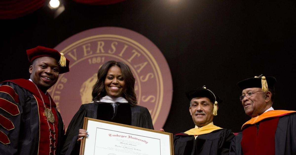 michelle obama receiving a diploma