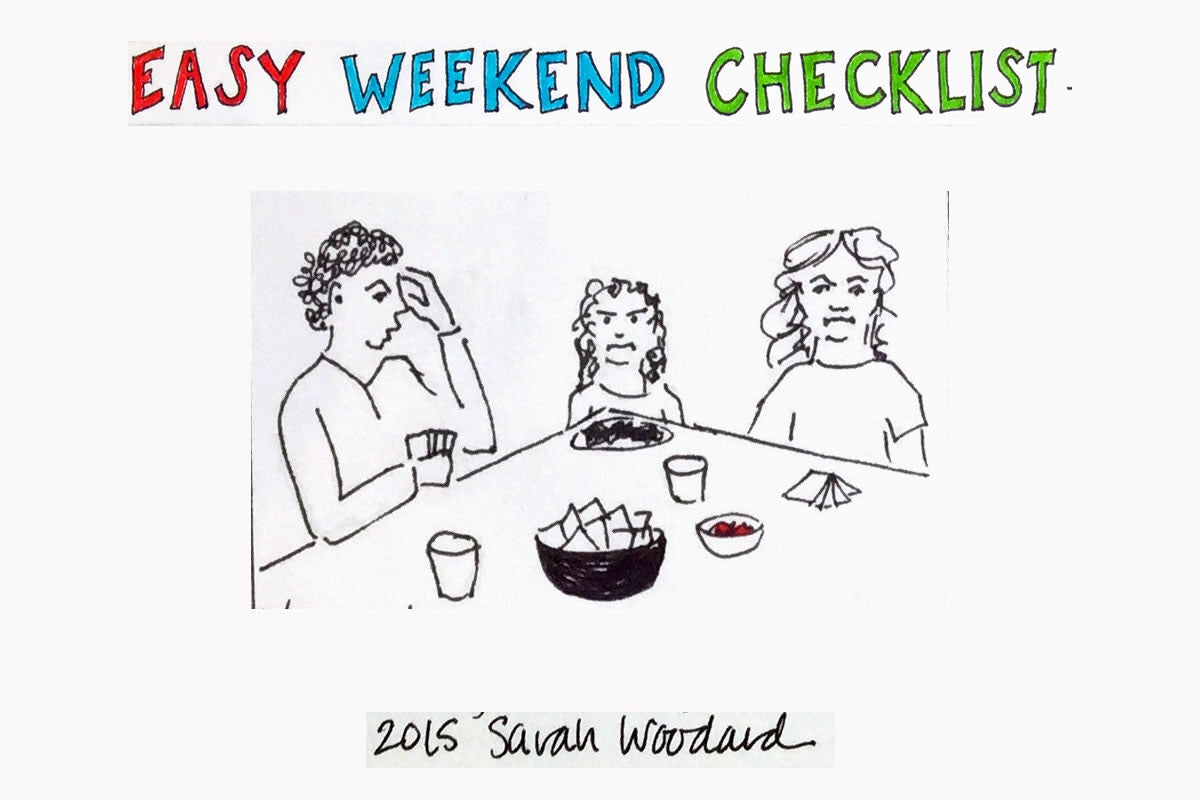 easy weekend checklist cartoon