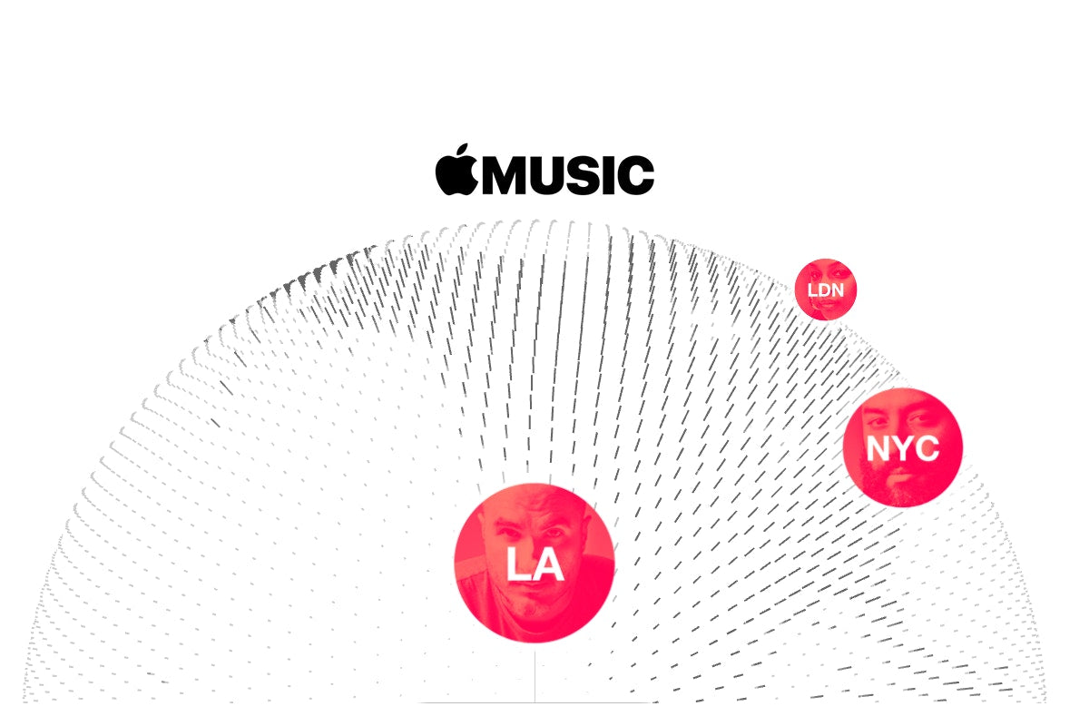 apple music global with london la nyc red dots