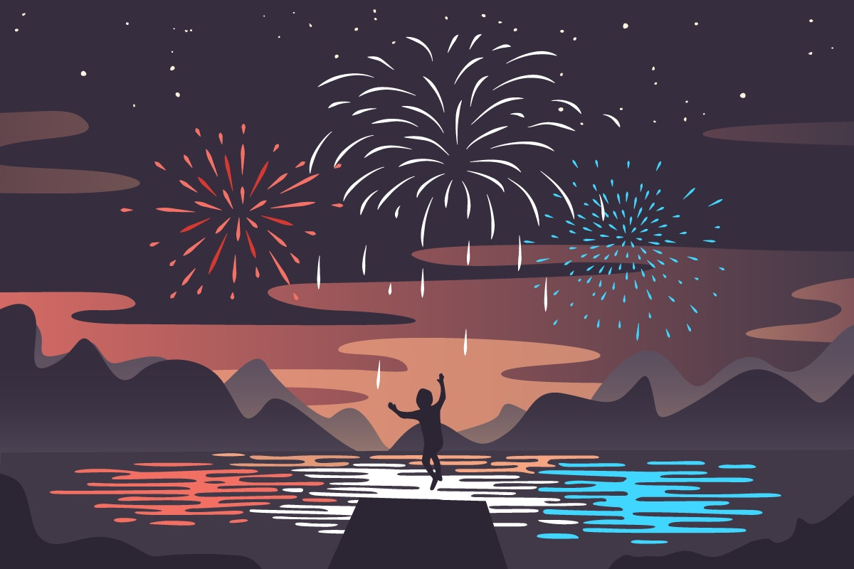 cartoon of young boy with fireworks in the sky