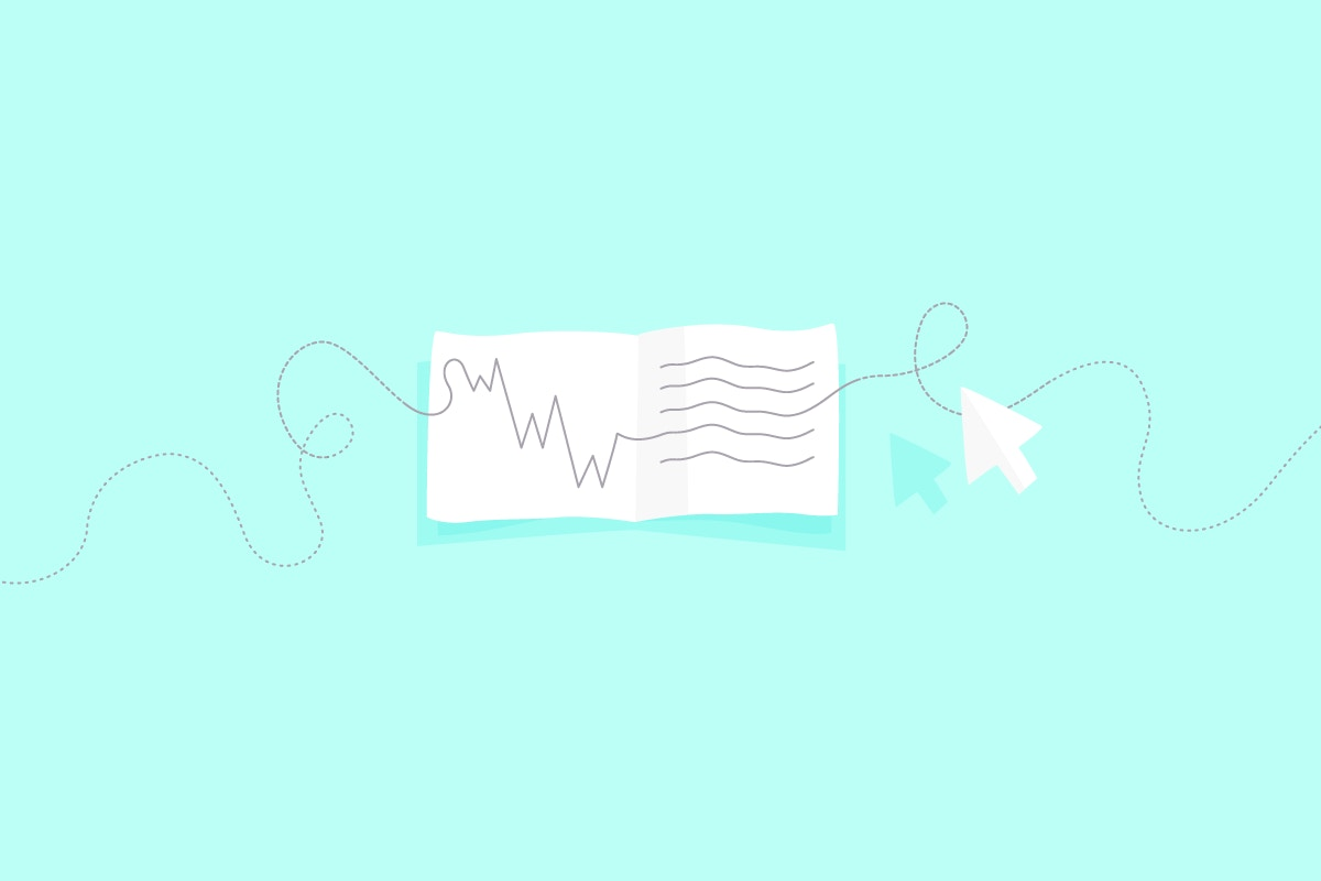 letter on turquoise background with lines going through it
