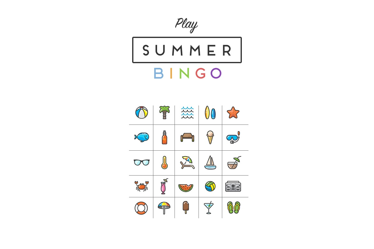 summer bingo with various images of summer on a bingo board