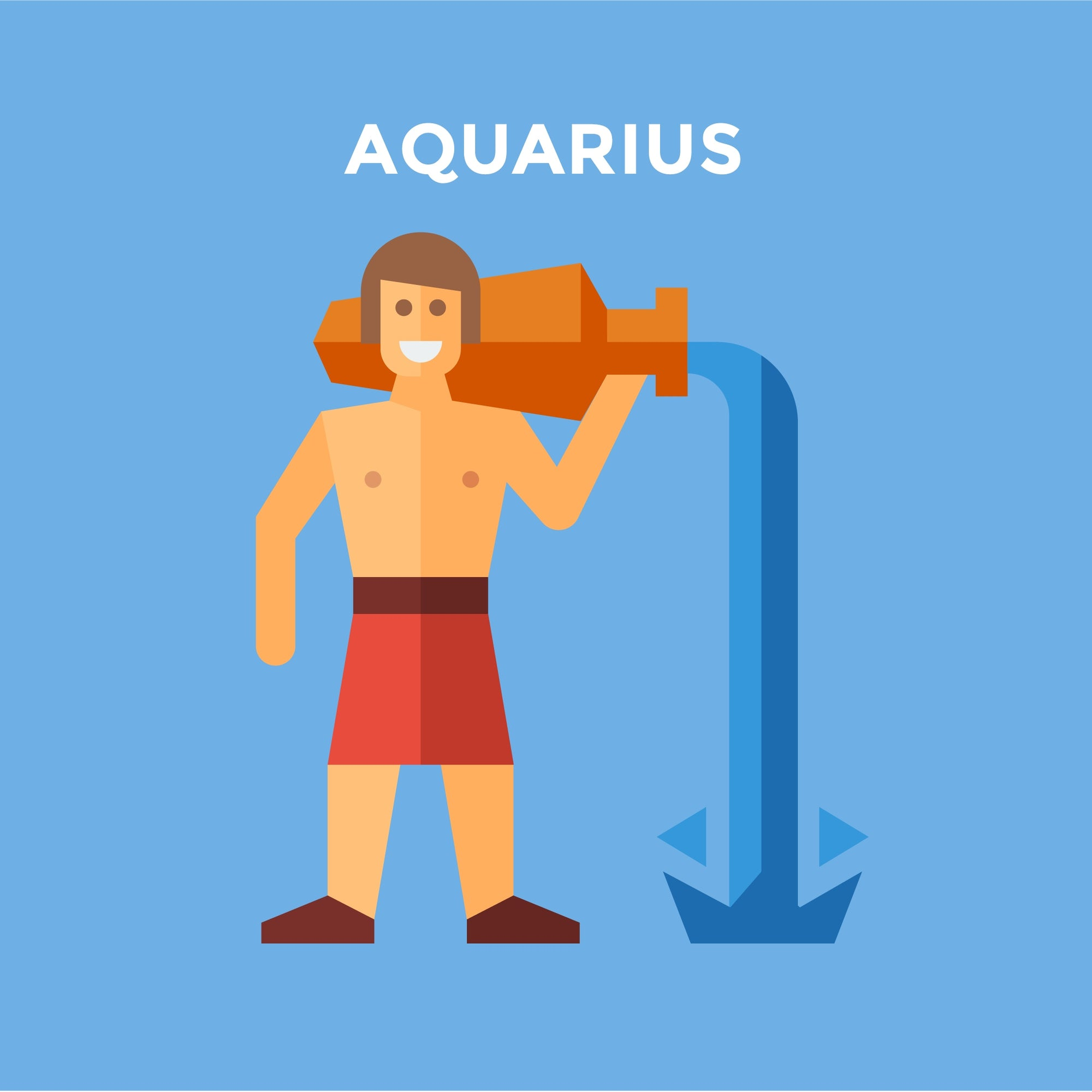 Animation of  man pouring water from pot with caption aquarius