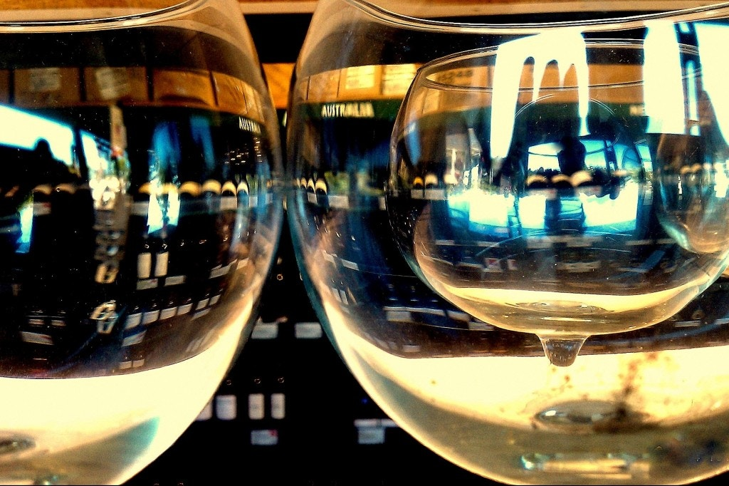 close up view of two empty wine glasses
