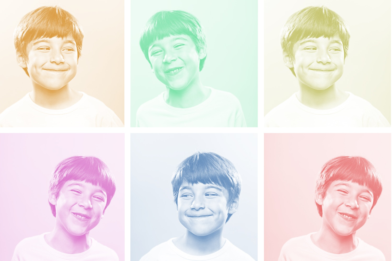 Young boy kid with different facial expressions set and diffreent backgroung color