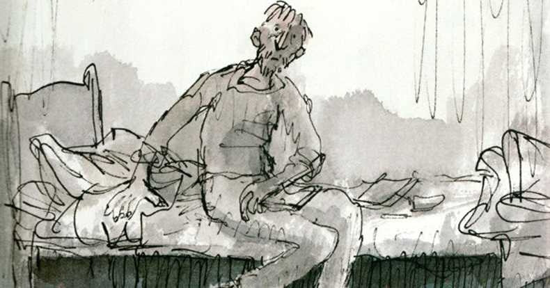 drawing of a man sits on the bed