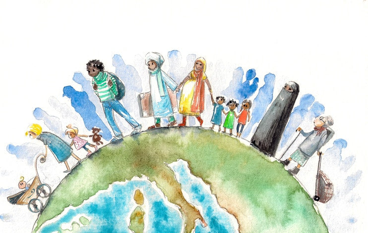 different religion people on the globe illustration