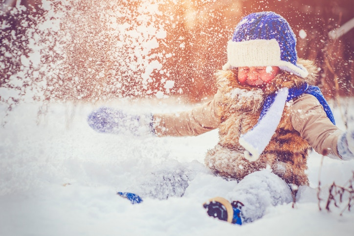 A child playing in snow