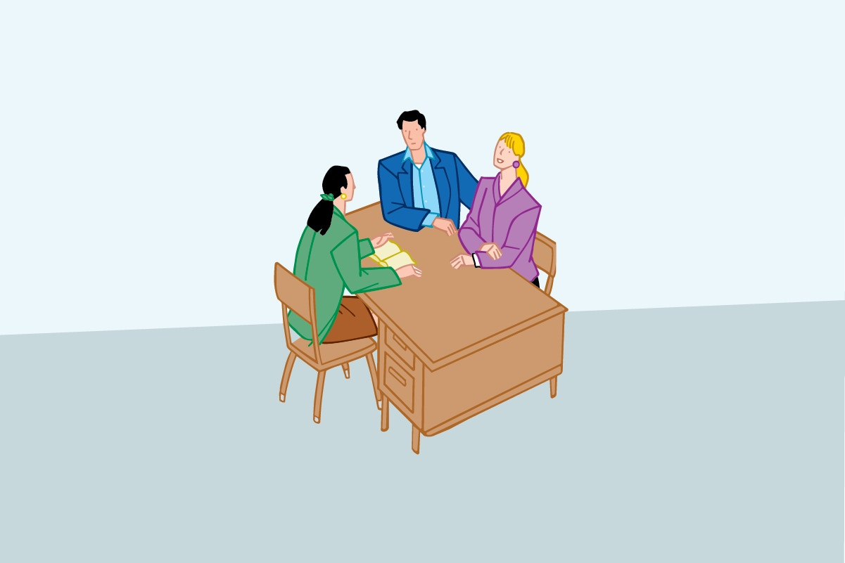 parents talking with teacher vector illustration