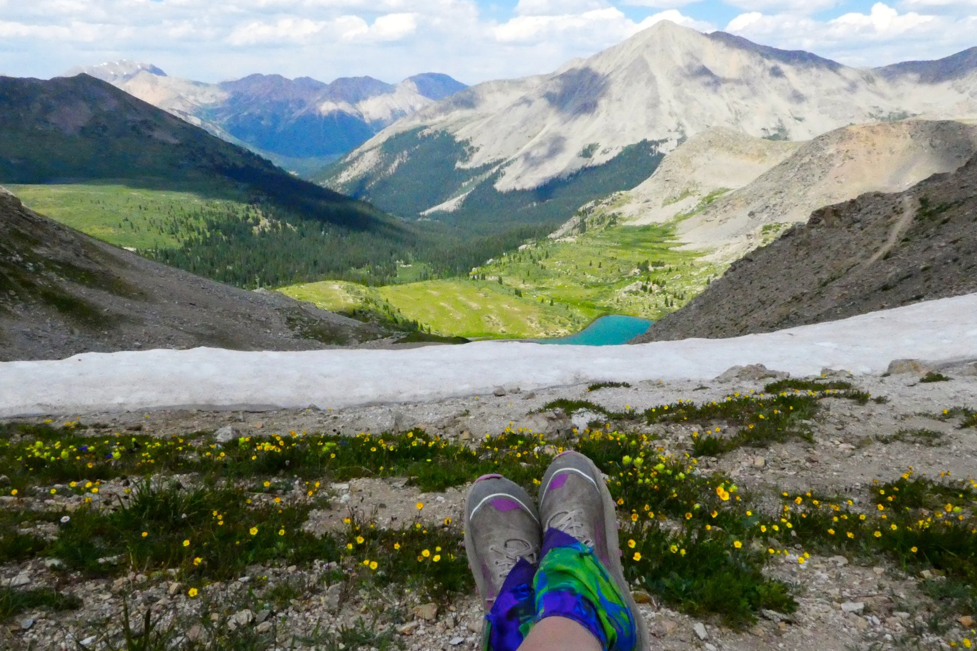 Person sitting on a high mountain top with first person perspective view, legs in focus