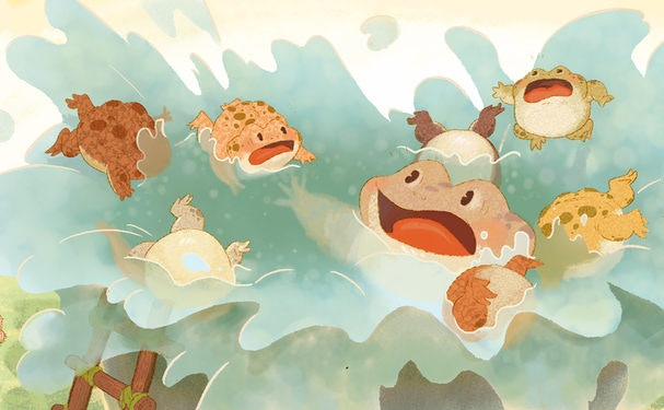 Cartoon of frogs playing under water