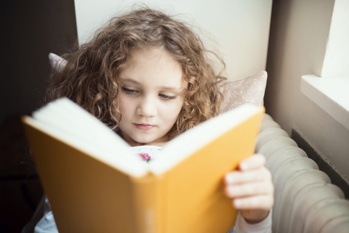 little girl with brown hair reading a book