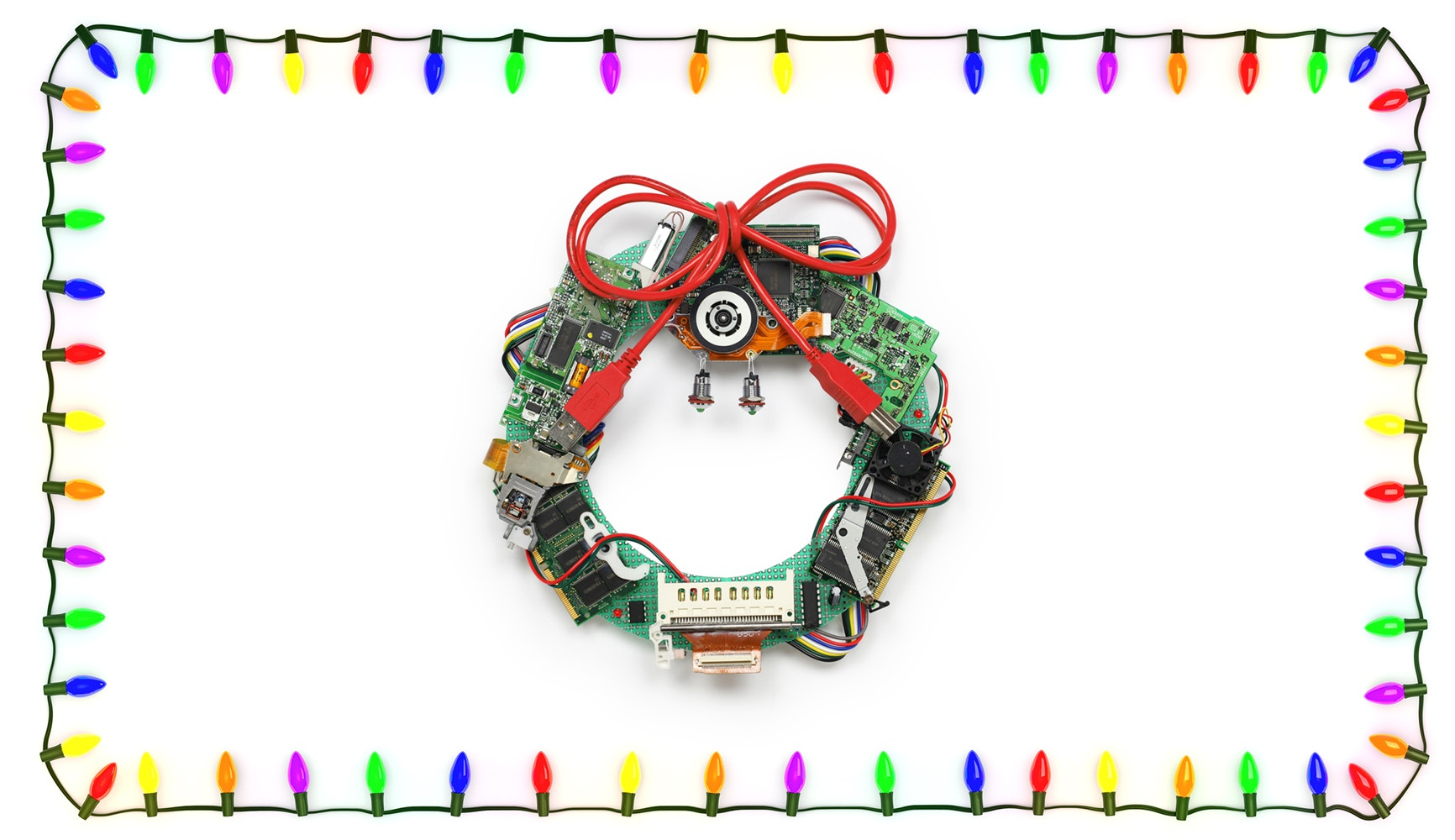 christmas lights around a computer chip wreath