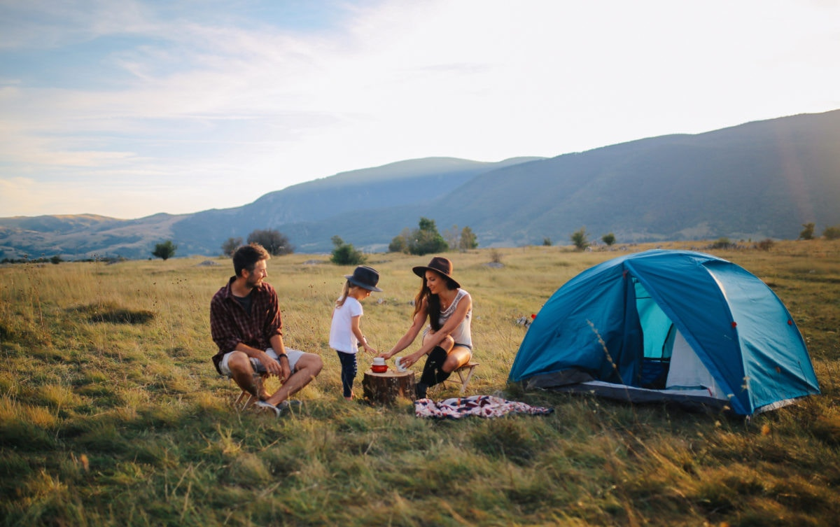 young family camping