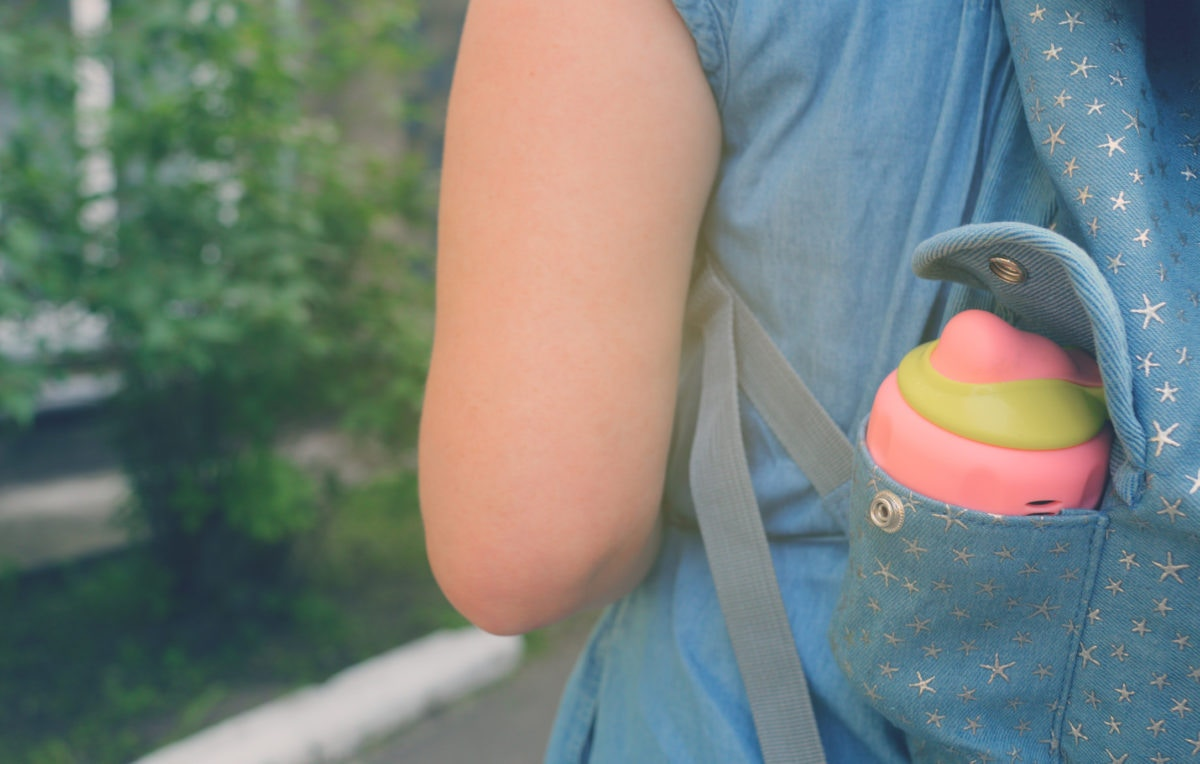 Water bottle on a children's bag