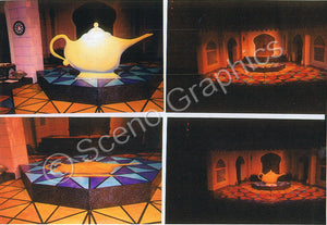 """Aladdin"" Lamp and Castles musical set, ScenoGraphics design. Rent Design Pak© to build yourself! DIY Sets, guide to building, high school, college, community theater. Play."