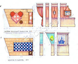 "Widow Douglas's, Huck's Room ""Big River: Huckleberry Finn"" musical set, ScenoGraphics design. Rent Design Pak© to build yourself! DIY Sets, guide to building, high school, college, community theater. Play."