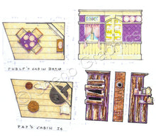 "Load image into Gallery viewer, Phelp's Cabin, Pap's Cabin ""Big River: Huckleberry Finn"" musical set, ScenoGraphics design. Rent Design Pak© to build yourself! DIY Sets, guide to building, high school, college, community theater. Play."