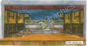 "Dicken's ""A Christmas Carol"" theater set, ScenoGraphics design. Scrooge's House. Rent blueprints to build yourself! DIY Sets, guide to building, high school, college, community theater. Play. Paller adaptation. Samuel French, inc."