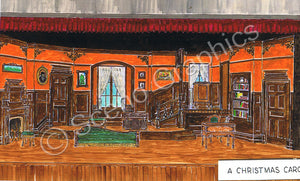 "Dicken's ""A Christmas Carol"" theater set, design by ScenoGraphics. Scrooge's House. Rent our Blueprints and build this theatre set yourself! DIY Sets, guide to building, high school, college, community theater. Play.  Paller adaptation. Samuel French, inc. Victorian attic."