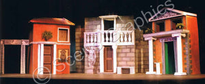 """A Funny Thing Happened on the Way to the Forum"" musical set, ScenoGraphics design. Roman, columns, Rome. Rent Design Pak© to build yourself! DIY Sets, guide to building, high school, college, community theater. Play."