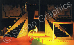 "Pyramid boat ""Aida"" set, ScenoGraphics design. Rent Design Pak© to build yourself! DIY Sets, guide to building, high school, college, community theater."
