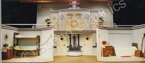 "Cabins, ""Anything Goes"" musical set, ScenoGraphics design. Rent Design Pak© to build yourself! DIY Sets, guide to building, high school, college, community theater. Play."
