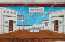 "Load image into Gallery viewer, Single decker boat, ""Anything Goes"" musical set, ScenoGraphics design. Rent Design Pak© to build yourself! DIY Sets, guide to building, high school, college, community theater. Play."