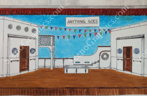 "Single decker boat, ""Anything Goes"" musical set, ScenoGraphics design. Rent Design Pak© to build yourself! DIY Sets, guide to building, high school, college, community theater. Play."