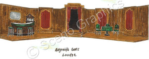 "Lounge, single decker boat, ""Anything Goes"" musical set, ScenoGraphics design. Rent Design Pak© to build yourself! DIY Sets, guide to building, high school, college, community theater. Play."