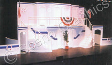 "Load image into Gallery viewer, Double decker boat, ""Anything Goes"" musical set, ScenoGraphics design. Rent Design Pak© to build yourself! DIY Sets, guide to building, high school, college, community theater. Play."