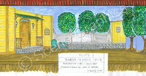 "Lamar's House ""Babes In Arms""  1959 Version Musical Set, ScenoGraphics design. Rent Design Pak© to build yourself! DIY Sets, guide to building, high school, college, community theater. Play."