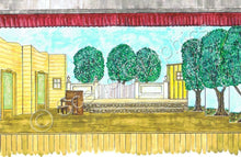 "Load image into Gallery viewer, Lamar's House Playhouse ""Babes In Arms"" 1959 Version Musical Set, ScenoGraphics design. Rent Design Pak© to build yourself! DIY Sets, guide to building, high school, college, community theater. Play."