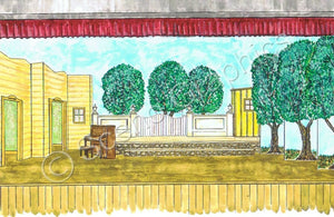 "Lamar's House Playhouse ""Babes In Arms"" 1959 Version Musical Set, ScenoGraphics design. Rent Design Pak© to build yourself! DIY Sets, guide to building, high school, college, community theater. Play."