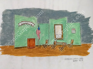 "American Legion Post ""Babes In Arms"" 1959 Version Musical Set, ScenoGraphics design. Rent Design Pak© to build yourself! DIY Sets, guide to building, high school, college, community theater. Play."