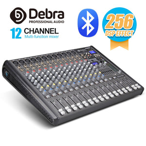 Professional Debra Audio PRO 12 Channel with 256 DSP Sound Effects Bluetooth Studio Mixer Audio - DJ Sound Controller Interf